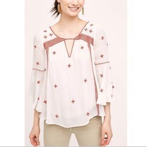 Anthropologie Floreat Adena Embroidered Blouse